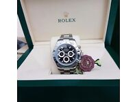 New Mens bagged and boxed silver bracelet black face Rolex Daytona automatic sweeping movement