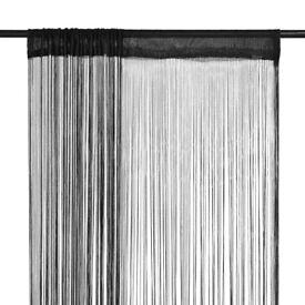 String Curtains 2 pcs 100x250 cm Black-132400