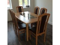 Beech Table plus 6 Chairs