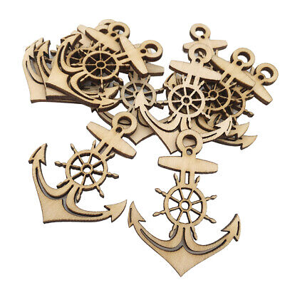 10pcs Unfinished Wooden Anchor Shape Tags Cutouts Hanging Embellishments DIY](Unfinished Wooden Anchor)