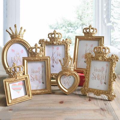 Luxury Baroque Style Gold Crown Resin Desktop Photo Frame,Heart-Shape 3 - Crown Frame