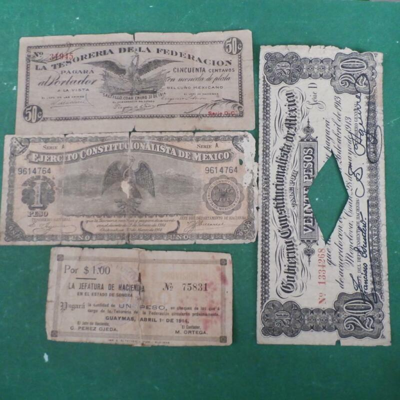 1913-15  4 notes Mexico  Revolution  low condition