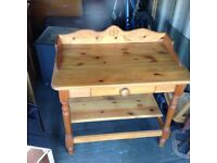 Chunky farmhouse pine baby changing table with storage