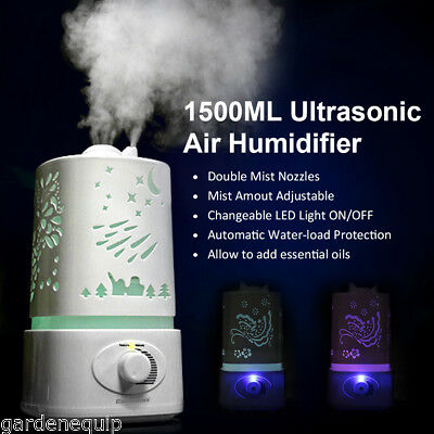 1500ml Ultrasonic Air Humidifier Purifier 7-Color LED Aroma Diffuser Nebulizer