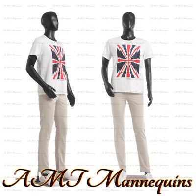 6ft1 Male Display Mannequin Metal Stand Full Body Black Used Manikin-mc-1bu