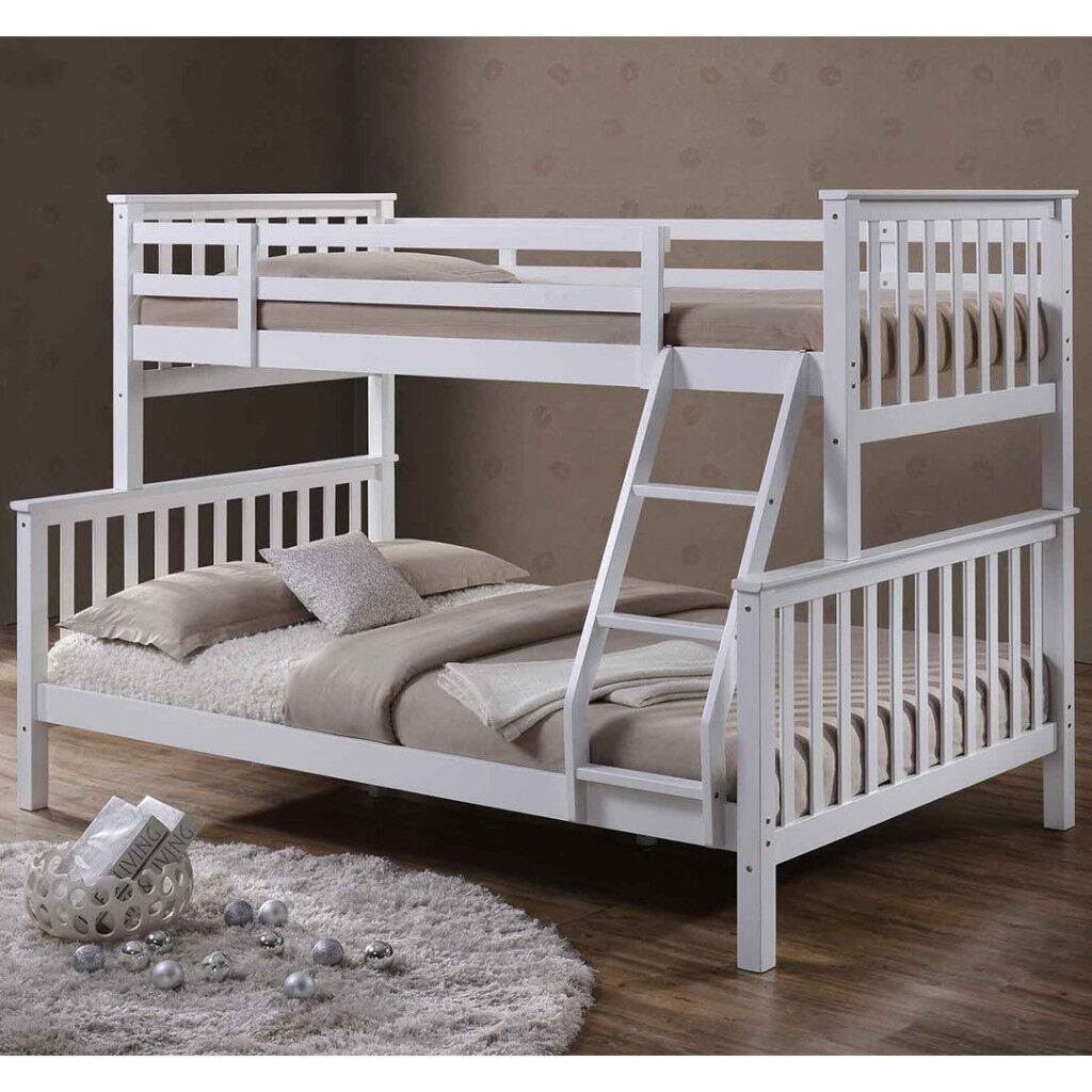 Charmant Triple Sleeper Bed Bunk Bed Double Bed In White