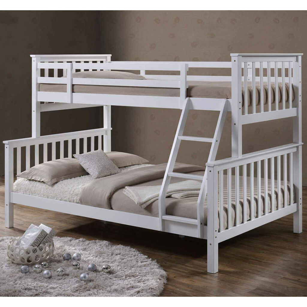 Merveilleux Triple Sleeper Bed Bunk Bed Double Bed In White