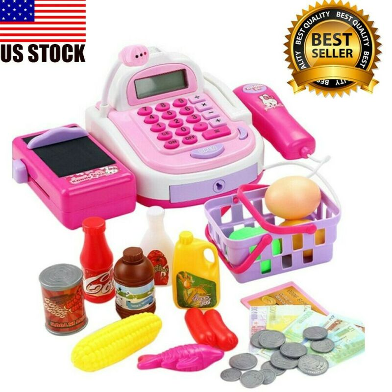kids pretend play electronic cash register toy