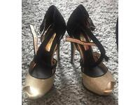 ✨Miss Selfridge black and gold size 5 high heels