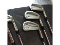 Nike Forged Pro Combo irons –3 – wedge. Nike speedstep stiff shafts fitted with new Lamkin grips