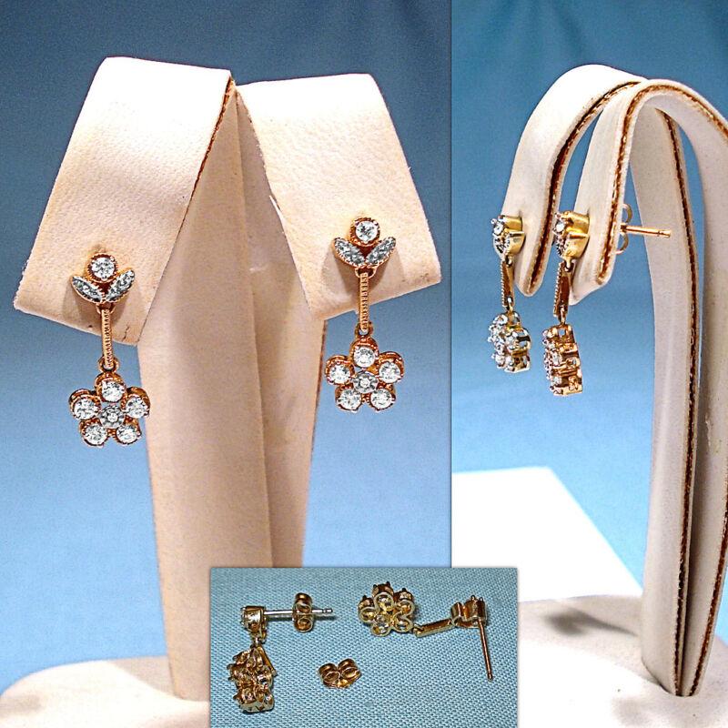 SOLID 14KT YELLOW GOLD DIAMONIQUE DROP DANGLE EARRINGS FOR PIERCED EARS
