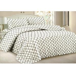 Todd Linens Queen Bedspread 3-Piece Quilt Set Soft Bedding - Microfiber Coverlet + 2 Pillow Shams (White Geometric)