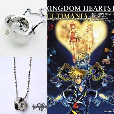 Top Kingdom Hearts 2 Crown Rotating Ring Anhänger Key Blade Necklace Halskette