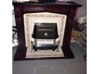 fire surround with tile infill and gas fire