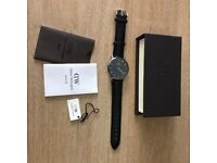 MENS DANIEL WELLINGTON WATCH - LEATHER BLACK - BRAND NEW
