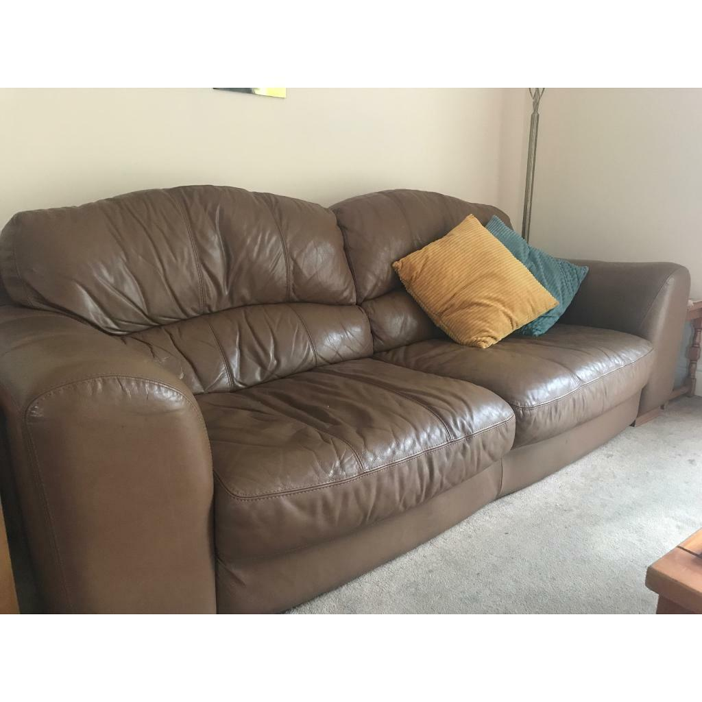 Large comfy leather sofas. One 4 seater, one 3 seater and 1 ...