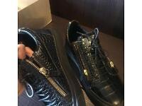 Giuseppe Zanotti Kris Leather reptile Skin Black Gold Zipper Men's Sneakers