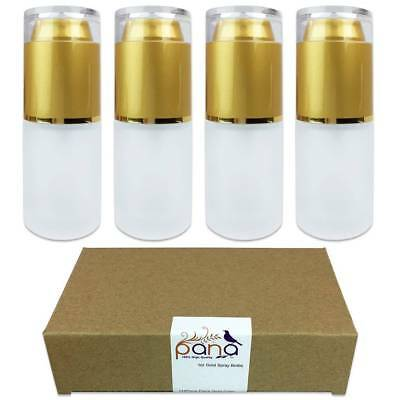4pcs Pana 30ML Refillable Fine Mist Spray Frosted Glass Bottle with Gold Cap