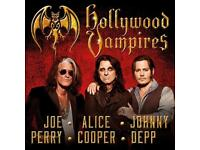 HOLLYWOOD VAMPIRES SECC HYDRO TICKET JOHNNY DEPP ALICE COOPER JOE PERRY