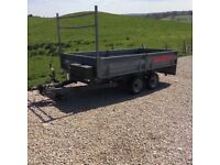 Trailer 10ft x 5ft6 with loading ramps, drop/removable sides, tail & ladder rack