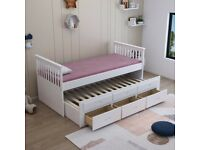 CAPTAIN BED, WHITE, GREY, SOLID, PULL OUT BED, SINGLE BED, 3 DRAWERS, STORAGE, WOODEN BED, MATTRESS,