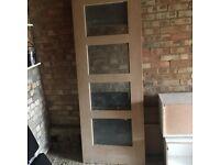 Wickes Marlow Internal Oak Veneer Door Clear Glazed 4 Panel 1981x762x35mm