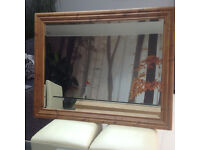Large pine-framed mirror