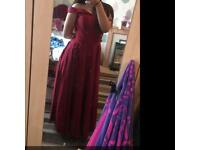 Prom dress - elegant, maroon off shoulder