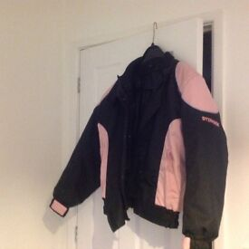 2 ladies motor bike jackets size medium in good used condition fits me and I'm a large