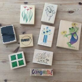 9 Wooden Rubber Printing Stamps ~ Craft / Scrapbooking / Handmade Cards ~