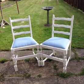 4 shabby chic chairs in antique white with newly reupholstered blue seat cushions. Buyer collect