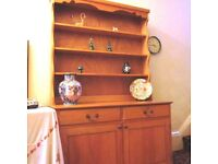French Dresser in Polished Solid Pine Wood, 4ft (122cms) wide.