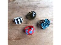 4 assorted funky/chunky rings