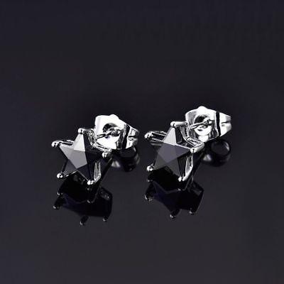 Beautiful New White Gold Filled Black Onyx CZ Star Shape Stud Post Earrings ()