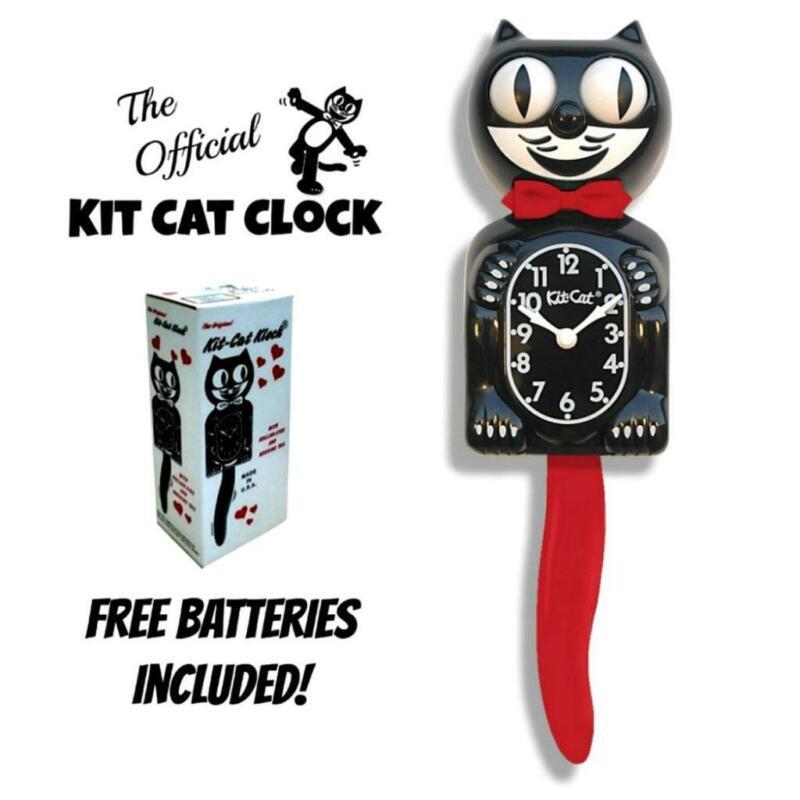 "CRIMSON ROYALE KIT CAT CLOCK 15.5"" Black Red Free Battery USA MADE Kit-Cat Klock"