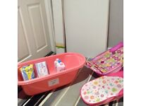 Baby bath, bath seats and toiletries