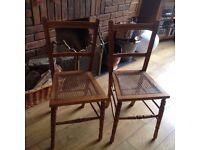Pair Antique medium oak bedroom - kitchen - hall chairs with ratten seats