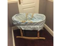 FREE DELIVERY Baby boy rocking crib John Lewis Hood Blue cotton lining quilt mattress hardly used