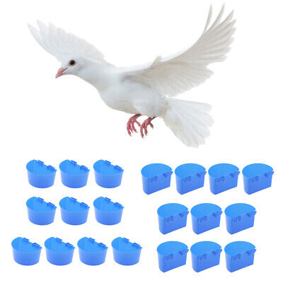 20 Pcs Pigeons Sand Cups Bird Food Water Container Plastic Bowl for Cage