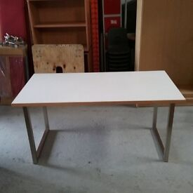 Large white desk with beech trim