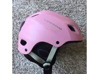 Ski helmet pink with neck strap