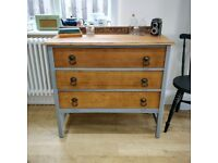 Vintage oak chest of drawers. Painted furniture. Small vintage drawers. Vintage storage (1629)
