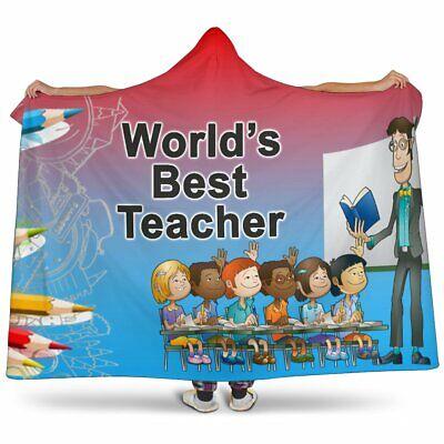 Best Teacher Cartoon Hooded Blanket - Sherpa And Microfiber Blanket With