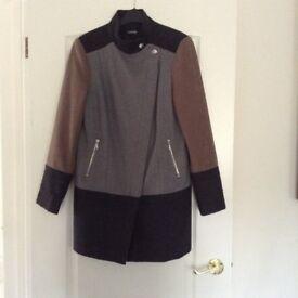 Grey and black three quarter length coat size 12/14