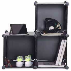 3x Black Interlocking Cubes Storage, Organize
