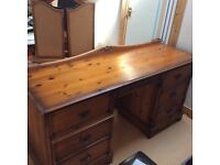 Double pedestal (6 drawer with dovetail joints) Dressing Table andTryptic mirror