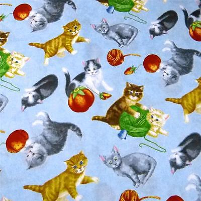 Cotton Fabric Per Yard, For Baby! Cats & Sewing Notions on Blue, by RJR