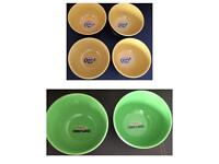 Six Collectable Kelloggs CRUNCHY NUT and CORNFLAKES Breakfast Cereal Bowls