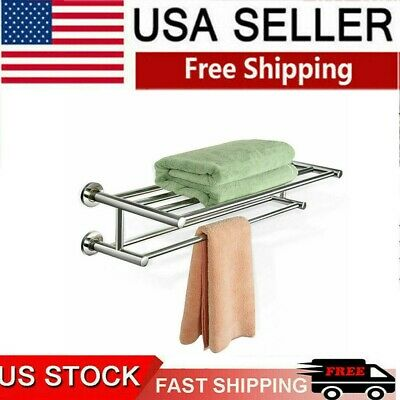 Stainless Steel Towel Bar Rail Wall Mounted Holder Bathroom Shelf Hotel Rack Hot