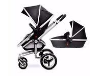 Silver Cross Surf Black newborn bassinet, stroller & umbrella + accessories incl
